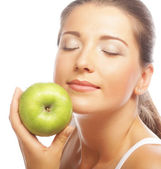 Beautiful woman with green apple — Foto Stock