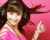 Beautiful woman with headphones — Stock Photo