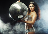 Dancer girl in smoke with disco ball — Foto de Stock