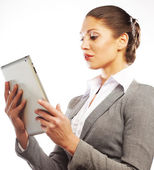 Business woman uses a mobile tablet computer — Foto de Stock