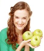 Mujer con tres manzanas — Foto de Stock
