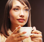 Woman with an aromatic coffee — Stock Photo