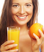 Happy woman with orange juice — Stock Photo