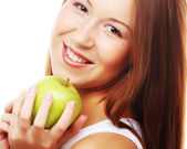 Happy smiling woman with apple, isolated on white — Stock Photo