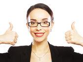 Mujer de negocios dando pulgares — Foto de Stock