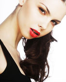 Beautiful sexy brunette with red lips — Stock Photo