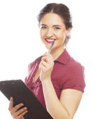 Portrait of a young female entrepreneur thinking — Stock Photo