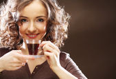 Woman with a cup of espresso coffee — Stock Photo