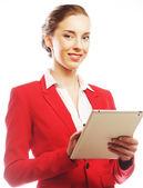 Mulher de negócios usa um computador móvel tablet — Foto Stock