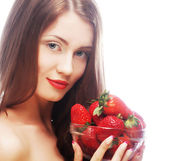Beautiful happy smiling woman with strawberry — Stock Photo