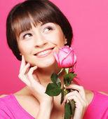 Mujer con rosa — Foto de Stock
