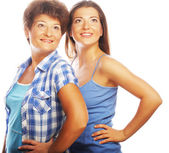 Happy mature mother ang adult daughter — Stock Photo