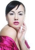 Sexig dam med rosa läppar — Stockfoto