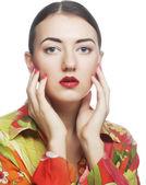 Rosto de mulher bonita com a pele limpa — Foto Stock