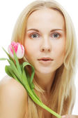 Blonde girl with tulip — Foto Stock