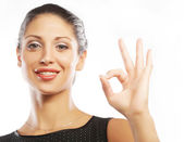 Happy smiling business woman with okay gesture — Stock Photo
