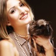 Woman with Guinea pig — Stock Photo
