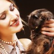 Woman with Guinea pig — Stock Photo #44126871