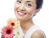 Beautiful asian woman with flower iris — Foto Stock