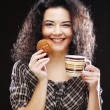 Woman with coffee and cookies — Stock Photo #45003343