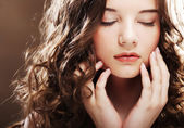 Beautiful woman with closed eyes — Stock Photo