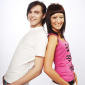 Young love couple smiling. — Stock Photo