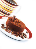 Cake with a cup of coffee — Stock Photo