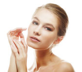 Young girl with clean skin on pretty face — Stock Photo