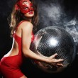 Lady in mask with disco ball — Stock Photo #46000475