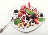 Waffles with strawberry and blackberry — Stok fotoğraf