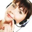 Smiling cheerful support phone operator in hea — Stock Photo #46589085