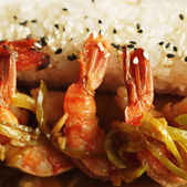 Baked shrimp with rice — Stock fotografie