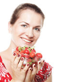 Happy woman with strawberry — Stock Photo