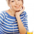 Woman has breakfast salad from fresh vegetables — Stock Photo #48047047