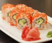 Fresh and tasty sushi rolls — Stock Photo