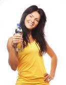 Confident gym woman with water bottle — ストック写真