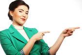 Femme d'affaires heureux pointant une idée — Photo