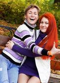 Two pretty girls  in autumn park — Φωτογραφία Αρχείου