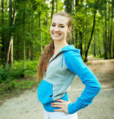 Young sporty woman outdoor. — Stock Photo