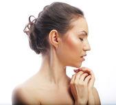 Krásných ženách tvář s čistou kůží — Stock fotografie