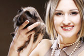 Young woman with Guinea pig — Stock Photo