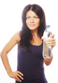 Confident gym woman with water bottle — Photo