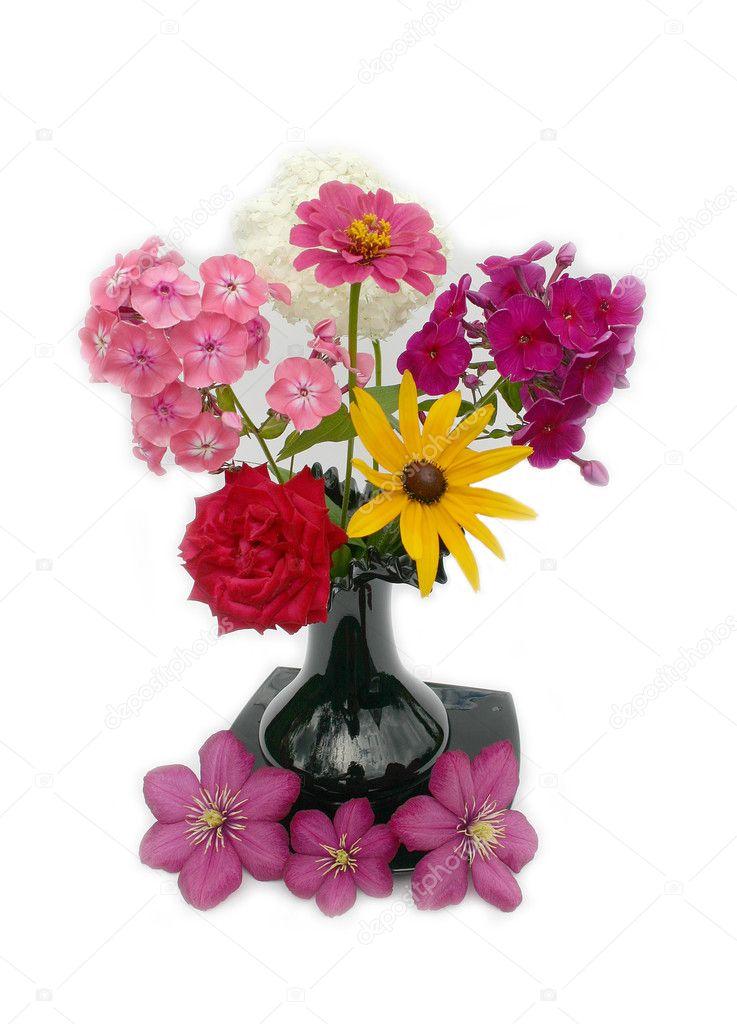 Mooi Boeket Bloemen Mooi Boeket Bloemen in Een Vaas Zwart op Een Witte Achtergrond Foto Van