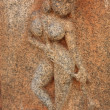 Carving detail of building exterior in Hampi, India. - Stock Photo