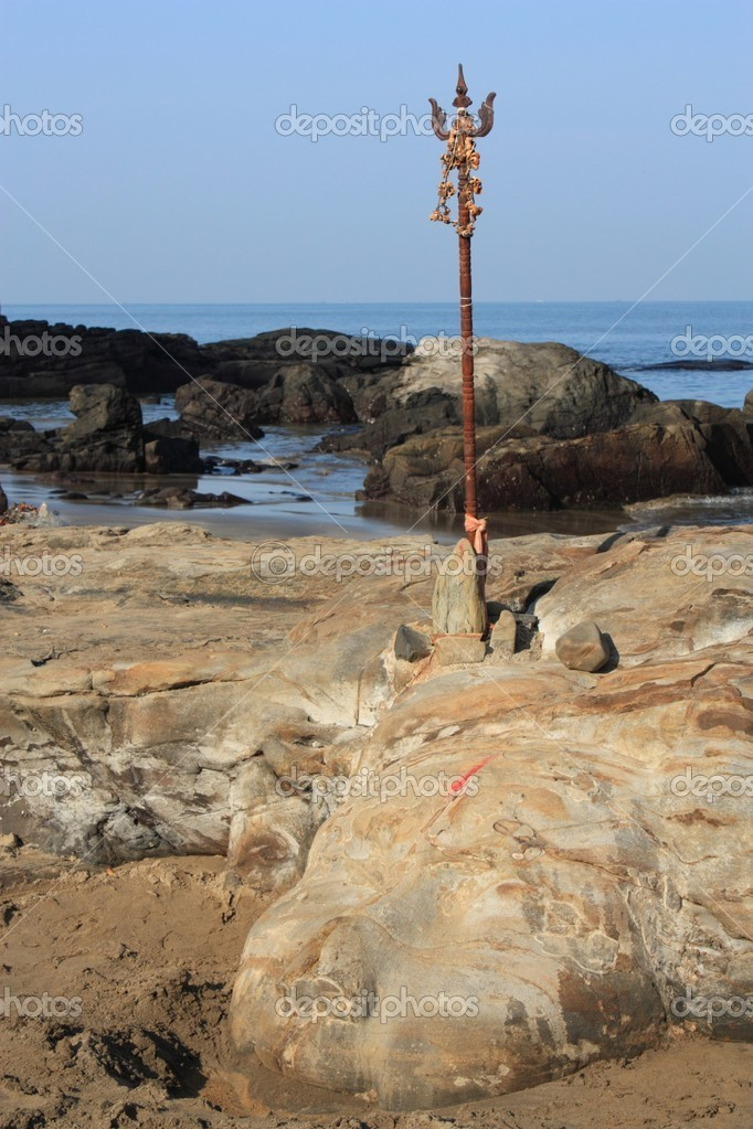 Shiva rock carving at little vagator beach in goa india