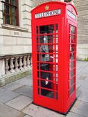 Red Telephone Booth, Big Ben and Houses of Parliament in London, UK. — Stock Photo