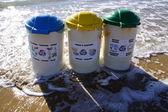 Trashcan on the beach — Stock Photo