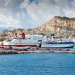 Stock Photo: Zakynthos town with big ferry, Greece