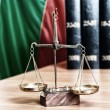 Symbol of law and justice and bulgarian flag — Stock Photo