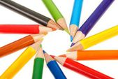 Pencils ordered in circle — Stock Photo